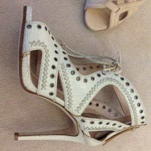 Miu Miu Lace Up Cutout Grommet Sandal Heel Crackled Leather Ivory White